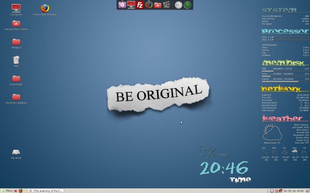 Linux Gnome-Desktop mit Conky