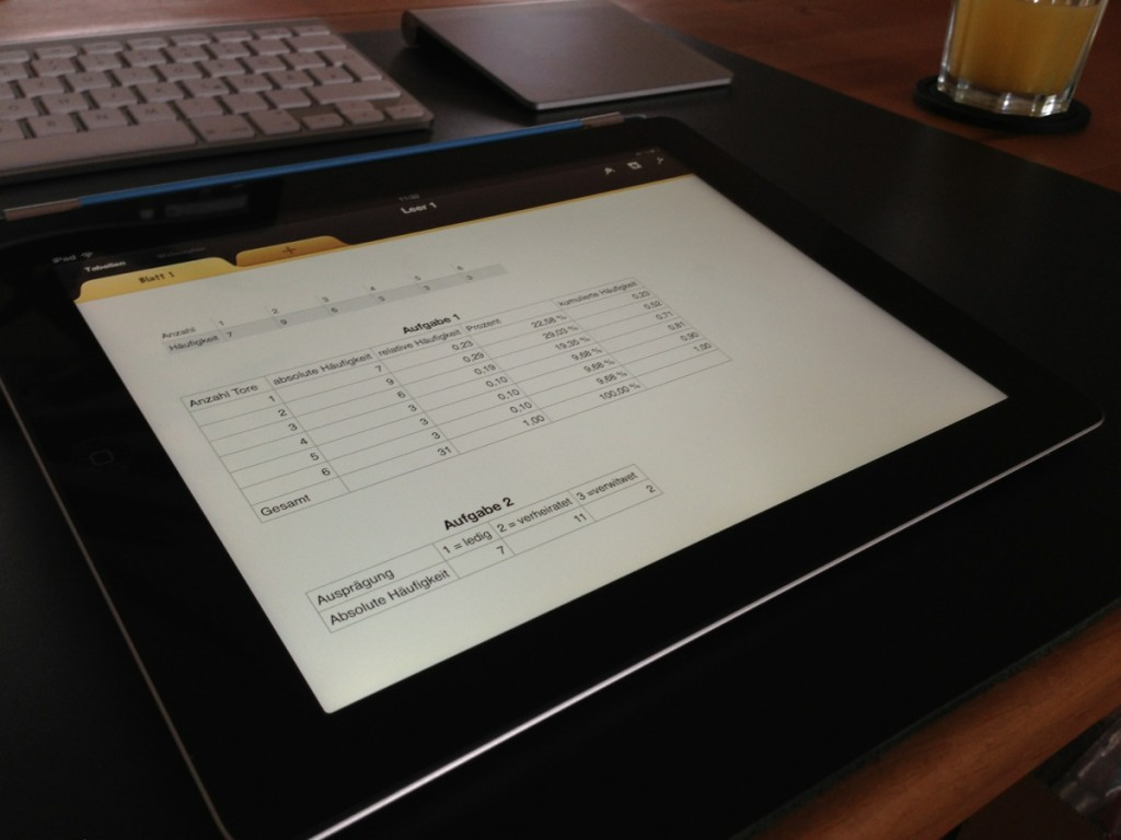 Tabellenkalkulation ist auf dem iPad kein Problem und sieht auch schick aus