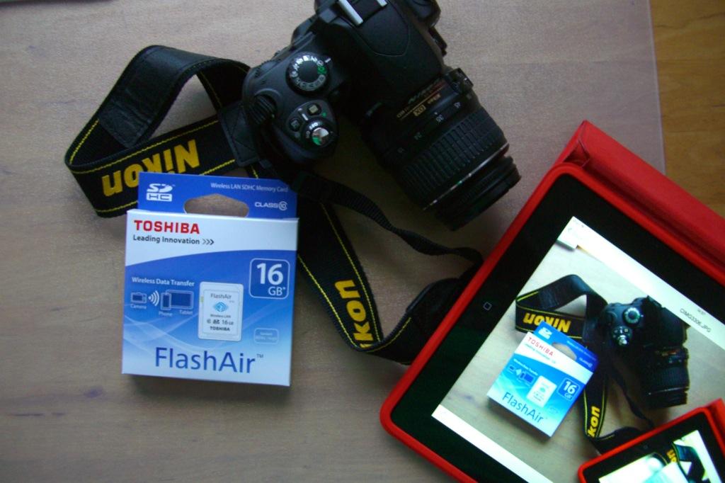 FlashAir mit Nikon D40 und iPad