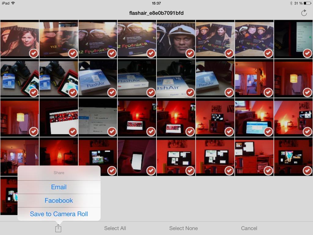 Screenshot der FlashAir-App