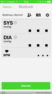 Startbildschirm Blutdruckmessung