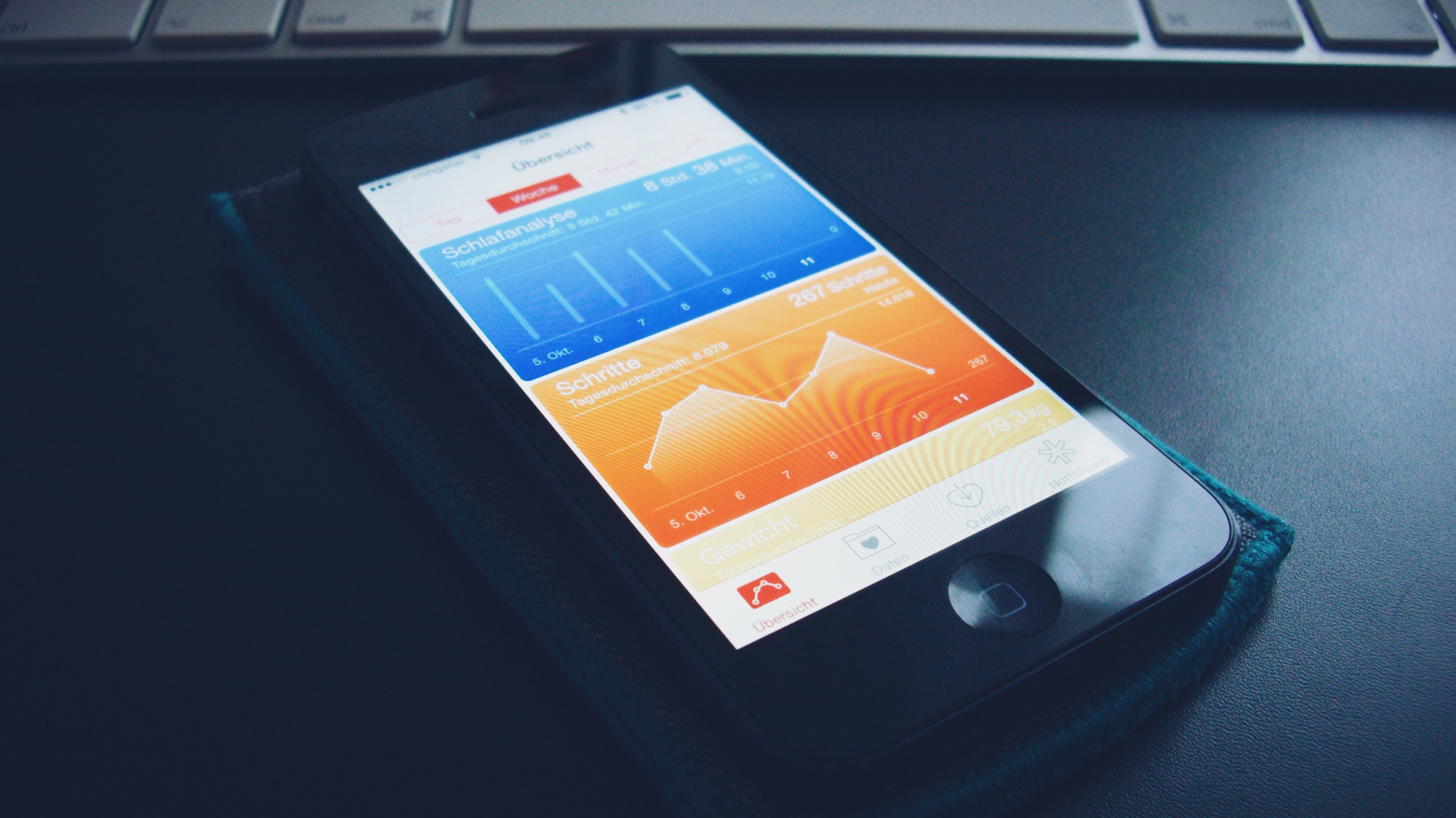 Schlafanalyse und Schritte in Apple Health